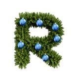Шрифт письма r характера ABC алфавита рождества с шариком рождества Тип украшения прописных букв ветвей рождественской елки с иллюстрация вектора