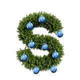 Шрифт письма s характера ABC алфавита рождества с шариком рождества Тип украшения прописных букв ветвей рождественской елки с иллюстрация штока