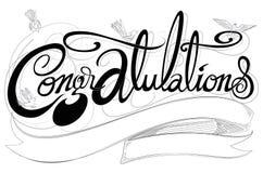 Шрифт поздравлениям классический имеет дизайн черно-белый co птиц Стоковое фото RF
