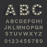 Шрифт при включении лампы черная предпосылка иллюстрация вектора