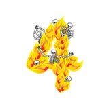 Шрифт пламен и грешников 4 адский Пламенистая литерность 4 Стоковые Фото