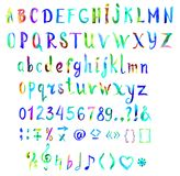 Шрифт руки покрашенный, рукописный акварели в голубых и зеленых цветах Стоковые Изображения RF