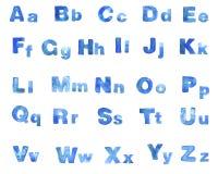Шрифт сини акварели Стоковые Изображения
