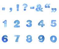 Шрифт сини акварели Стоковое фото RF