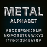 Шрифт скошенный металлом элементы алфавита scrapbooking вектор Стоковые Изображения RF