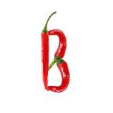 Шрифт сделанный из горячего перца красного chili - пометьте буквами b Стоковое Изображение RF