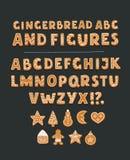Шрифт с обломоками шоколада, полный алфавит печенья иллюстрация штока