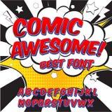 Шрифт творческой высокой детали шуточный Алфавит в стиле комиксов, искусство шипучки иллюстрация вектора