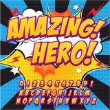 Шрифт творческой высокой детали шуточный Алфавит в стиле комиксов, искусство шипучки Письма и диаграммы для украшения детей бесплатная иллюстрация