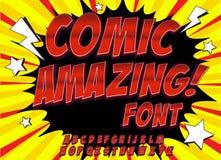 Шрифт творческой высокой детали шуточный Алфавит в стиле комиксов, искусство шипучки Письма и диаграммы для украшения детей иллюстрация штока