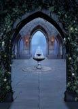 Шрифт фантазии в замке на ноче Стоковое Изображение RF