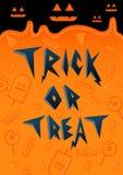 Шрифт хеллоуина фокуса или обслуживания с конфетой Стоковые Фотографии RF