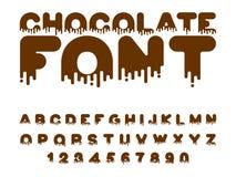 Шрифт шоколада алфавит сладости Жидкостная литерность сладостно иллюстрация штока