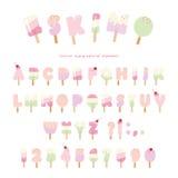 Шрифт эскимоса мороженого Письма и номера Popsicle красочные можно использовать для дизайна лета Изолировано на белизне бесплатная иллюстрация