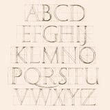 Шрифт Antiqua Нарисованный рукой эскиз конструкции Стоковые Изображения
