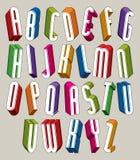 шрифт 3d, vector высокорослые тонкие письма, геометрическое габаритное alphabe Стоковое Изображение