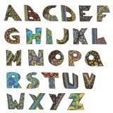 Шрифт doodle английского алфавита вектора handmade иллюстрация штока