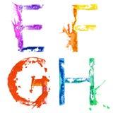 Шрифт e выплеска краски вектора, f, g, h