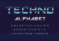 Шрифт Techno иллюстрация вектора
