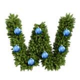 Шрифт w письма характера ABC алфавита рождества с шариком рождества Тип украшения прописных букв ветвей рождественской елки с бесплатная иллюстрация