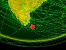 Шри-Ланка на зеленой модели земли планеты с сетью представляя цифровой век, перемещение и сообщение иллюстрация 3d бесплатная иллюстрация