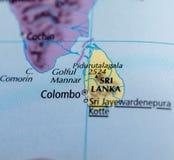 Шри-Ланка на карте Стоковое Фото