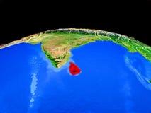 Шри-Ланка от космоса на земле иллюстрация вектора