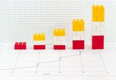 Штабелированная диаграмма в виде вертикальных полос сделанная от детей частей дизайнерской Стоковое Изображение