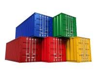 штабелированная перевозка груза контейнера иллюстрация вектора