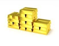 Штабелированное золото в слитках подиума победителя
