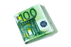 Штабелированные банкноты денег евро - 100 счетам евро стоковые изображения