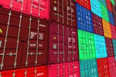 Штабелированные красочные грузовые контейнеры Стоковое Изображение