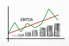 Штабелированные монетки на Ebitda Стоковое Изображение RF