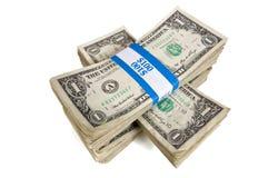Штабелированные пачки наличных денег Стоковые Фотографии RF