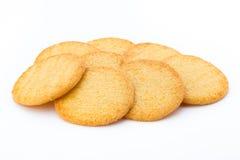 Штабелированные печенья короткого печенья на белой предпосылке Стоковые Фотографии RF