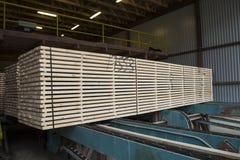 Штабелированный пиломатериал отрезка на конвейерной ленте Стоковое Изображение RF