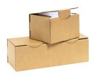 3 штабелированных коробки с светом в стороне Стоковое Изображение