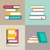 Штабелируйте или куча значков вектора книг в плоском стиле иллюстрация штока