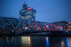 Штабы RTS и ` s птицы гнездятся мост в Женеве стоковая фотография rf