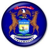 штат Мичиган флага кнопки Стоковая Фотография