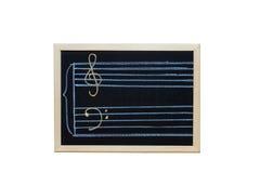 Штат музыки в ключе c написанном на классн классном Стоковые Фото