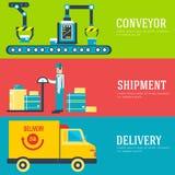 Штат склада кладет грузы, коробку, пакет и пакетирует знамена Плоская иллюстрация вектора обслуживания поставки дела Стоковое Изображение