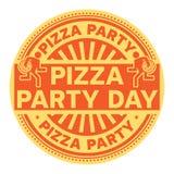 Штемпель дня партии пиццы иллюстрация штока