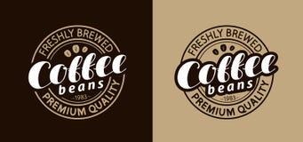Штемпель или эмблема кофе Свеже заваренные фасоли также вектор иллюстрации притяжки corel иллюстрация штока