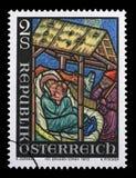 Штемпель напечатанный Австрией, рождество рождества выставок Стоковое Изображение