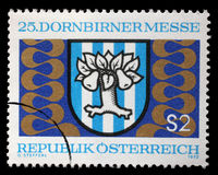 Штемпель напечатанный Австрией, эмблемой Dornbirn выставок справедливой стоковая фотография rf