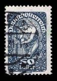 Штемпель напечатанный в Австрии показывает человека, иносказания новой республики Стоковые Фотографии RF