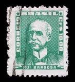 Штемпель напечатанный в Бразилии, портрете выставок Ruy Barbosa стоковые фото