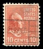 Штемпель напечатанный в изображении выставок США президента John Tyler Стоковые Изображения