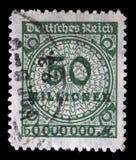 Штемпель напечатанный в изображении выставок Федеративной республики Германии гипер надутых номеров Стоковые Изображения